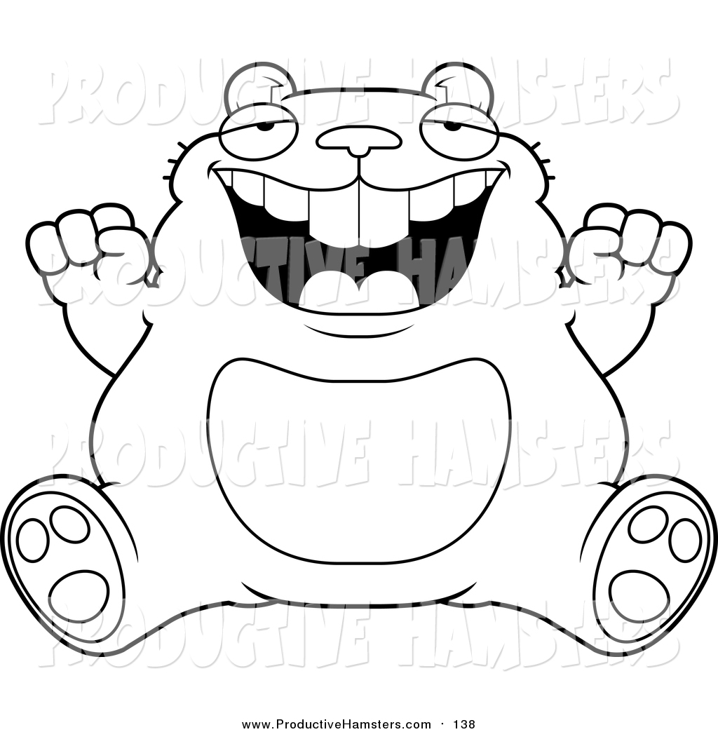 illustration of a lineart fat hamster sitting and cheering
