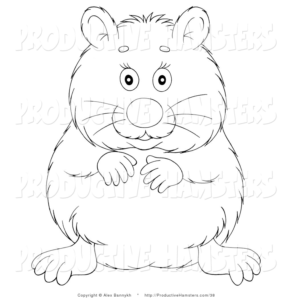 Free coloring pages hamsters - Outlined Happy Hamster