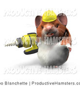 Illustration of a 3d Construction Hamster Using a Power Drill by Leo Blanchette