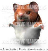 Illustration of a 3d Hamster Smiling and Holding His Arms out by Leo Blanchette