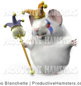 Illustration of a 3d Jester Hamster Wearing a Hat and Holding a Staff by Leo Blanchette