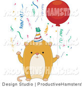 Illustration of a Birthday Hamster Holding a Balloon by BNP Design Studio