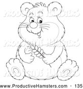 Illustration of a Black and White Cute Chubby Hamster Holding Wheat by Alex Bannykh