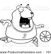 Illustration of a Black and White Outlined Chubby Hamster Playing Basketball by Cory Thoman