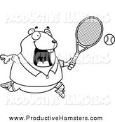 Illustration of a Black and White Plump Hamster Playing Tennis by Cory Thoman