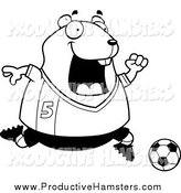 Illustration of a Black and White Sporty Hamster Playing Soccer by Cory Thoman