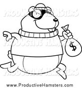 Illustration of a Black and White Thief Hamster Robbing a Bank by Cory Thoman