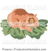Illustration of a Brown Hamster on Leaves by Prawny