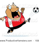 Illustration of a Cartoon Hamster Kicking a Soccer Ball by Cory Thoman