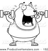 Illustration of a Cartoon Lineart Chubby Hamster Working out with Dumbbells by Cory Thoman