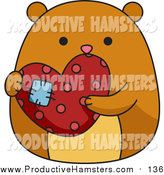 Illustration of a Chubby Hamster Holding a Patched Heart by BNP Design Studio