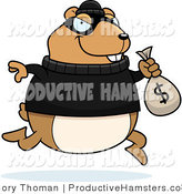 Illustration of a Chubby Hamster Robbing a Bank by Cory Thoman