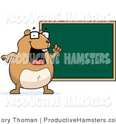 Illustration of a Chubby Hamster Teacher by a Chalk Board by Cory Thoman