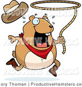 Illustration of a Chubby Rodeo Hamster Swinging a Lasso by Cory Thoman
