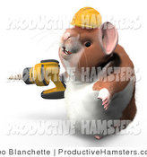 Illustration of a Construction Hamster Wearing a Hardhat and Operating a Drill by Leo Blanchette
