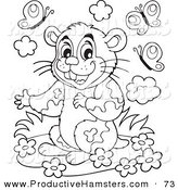 Illustration of a Cute Black and White Hamster with Flowers and Butterflies by Visekart