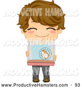 Illustration of a Cute Brunette Boy Holding a Hamster Cage by BNP Design Studio