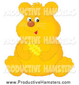 Illustration of a Cute Fat Golden Hamster Holding Wheat by Alex Bannykh