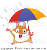 Illustration of a Cute Hamster Holding an Umbrella in the Rain by Yayayoyo