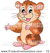 Illustration of a Cute Presenting Brown Hamster by Visekart