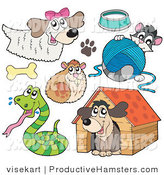 Illustration of a Dog Hamster Snake Cat and Dog House by Visekart
