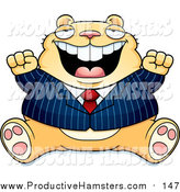 Illustration of a Fat Tan Business Hamster Sitting and Cheering by Cory Thoman