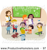 Illustration of a Female Teacher and Diverse School Chidlren Sharing Their Pets by BNP Design Studio