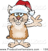 October 11th, 2015: Illustration of a Friendly Waving Tan and Brown Hamster Wearing a Christmas Santa Hat by Dennis Holmes Designs
