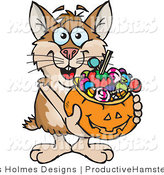 Illustration of a Halloween Hamster Holding a Pumpkin Basket Full of Candy by Dennis Holmes Designs