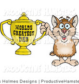 Illustration of a Hamster Holding a Worlds Greatest Dad Trophy by Dennis Holmes Designs