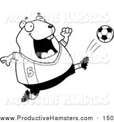 Illustration of a Lineart Chubby Hamster Kicking a Soccer Ball by Cory Thoman