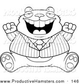 Illustration of a Lineart Fat Business Hamster Sitting and Cheering by Cory Thoman