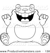 Illustration of a Lineart Fat Hamster Sitting and Cheering by Cory Thoman