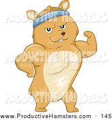 Illustration of a Strong Hamster Flexing His Muscles by BNP Design Studio