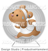 Illustration of a Sweaty Hamster Running in a Wheel and Listening to Music by BNP Design Studio