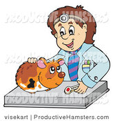 Illustration of a Veterinarian Looking over a Hamster by Visekart