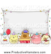 Illustration of Birthday Party Animals Under a Sign Banner by BNP Design Studio