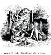 Illustration of Black and White Kids with a Hamster and Pets by Prawny Vintage