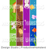 Illustration of Dog Hamster Cat and Fish Pet Banners by BNP Design Studio