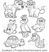 Illustration of Outlined Pets and Hamster by Visekart