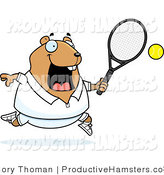 Vector Illustration of a Fat Cartoon Hamster Playing Tennis by Cory Thoman