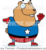 Vector Illustration of a Fat Cartoon Superman Hamster Waving Hello by Cory Thoman