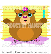 Vector Illustration of a Smiling Hamster Holding a Candle over Yellow Stripes Background by
