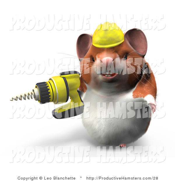 Illustration of a 3d Construction Hamster Using a Power Drill
