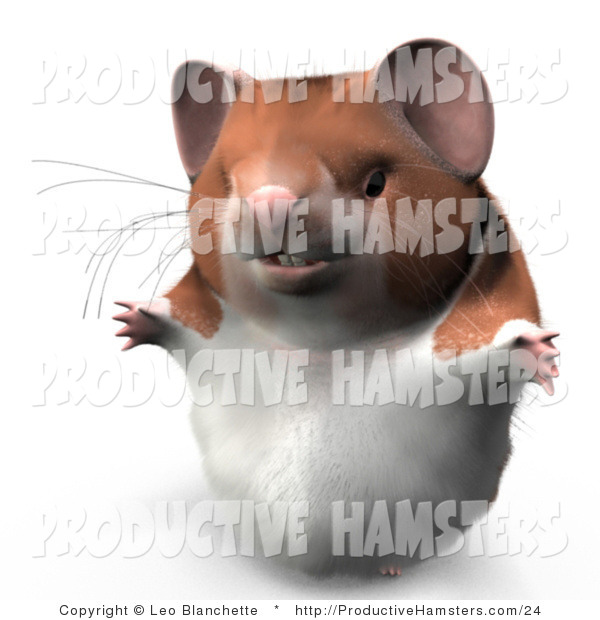 Illustration of a 3d Hamster Holding His Arms Open
