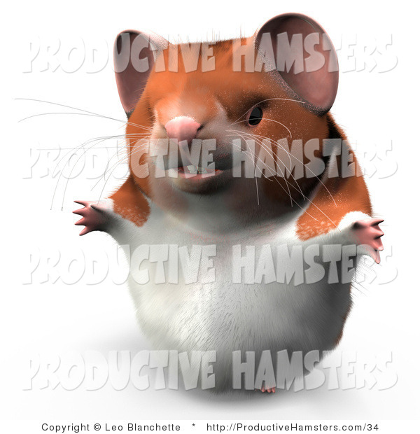 Illustration of a 3d Hamster Smiling and Holding His Arms out
