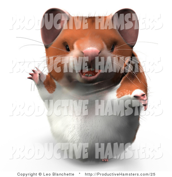 Illustration of a 3d Hamster Waving and Smiling