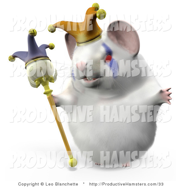 Illustration of a 3d Jester Hamster Wearing a Hat and Holding a Staff