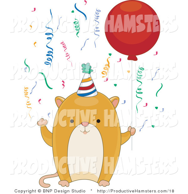Illustration of a Birthday Hamster Holding a Balloon