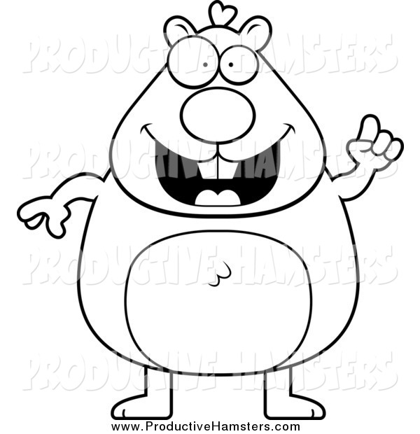 Illustration of a Black and White Chubby Hamster with an Idea